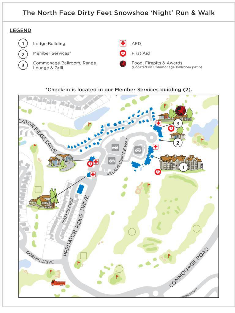 Snowshoe check-in map